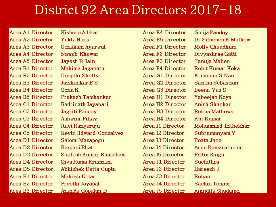 Distrct 92 Area Directors 2017-18