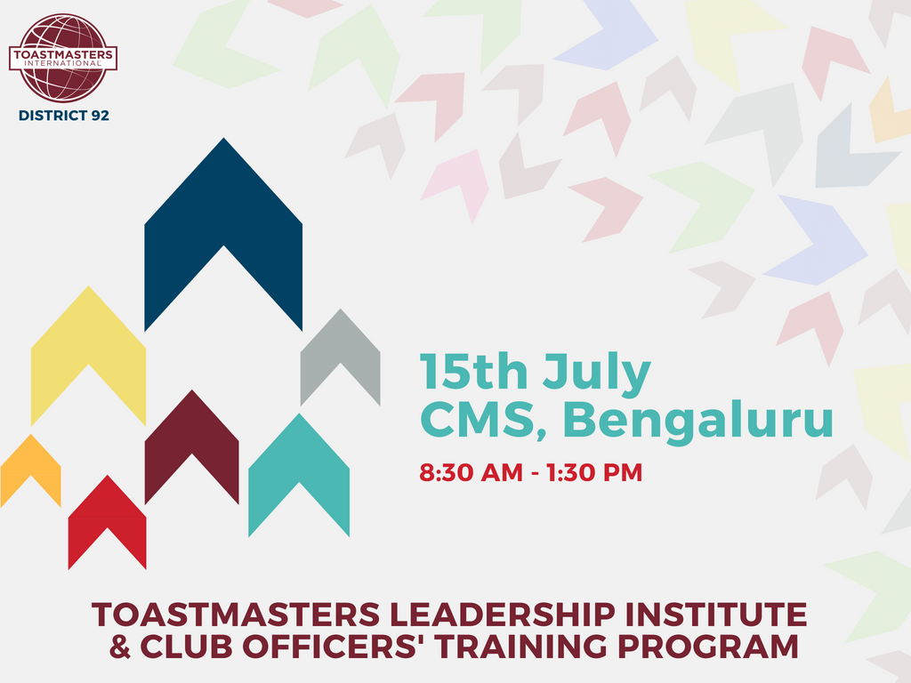 Toastmasters Leadership Institute: CMS, Bengaluru